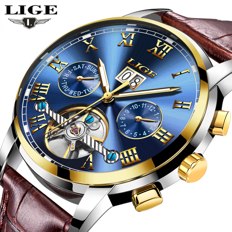 LIGE Watches Men Sport Men's Mechanical Watches Fashion Business Automatic Watch Man Waterproof Leather Clock relogio masculino weide popular brand new fashion digital led watch men waterproof sport watches man white dial stainless steel relogio masculino