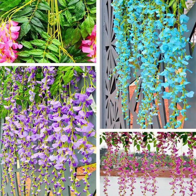 1pc home garden hotel decor silk flower garland artificial flower wisteria vine rattan for wedding party - Violet Hotel Decor