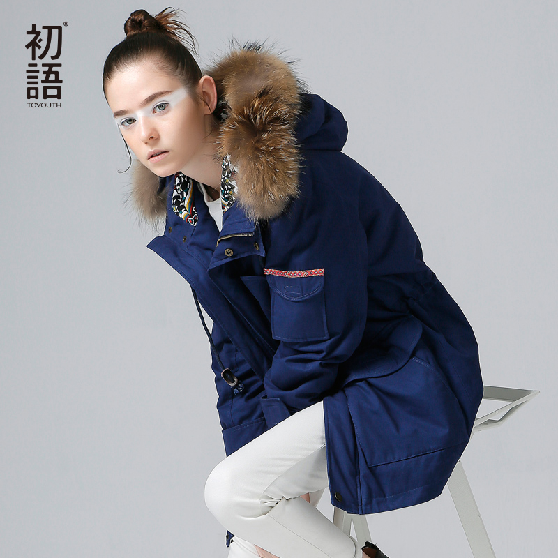 Toyouth 2019 Winter Thickness Fur Hooded Snow Wear   Parka   Outwear Medium-Long Cotton Warm Overcoat Jacket Solid Padded