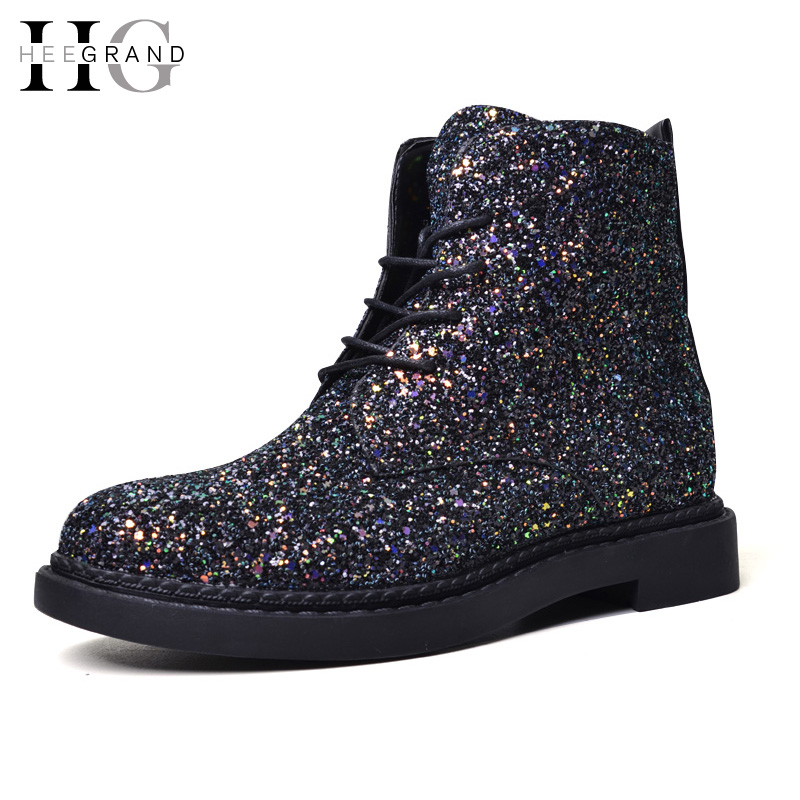 HEE GRAND Lace-Up Ankle Boots Woman Platform Autumn Shoes Woman Glitter Casual Nubuck Leather Slip On Flats Women Boots XWX4718 hee grand camouflage creepers 2017 lace up platform shoes woman wedges loafers slip on flats casual fahsion woman shoes xwd6038