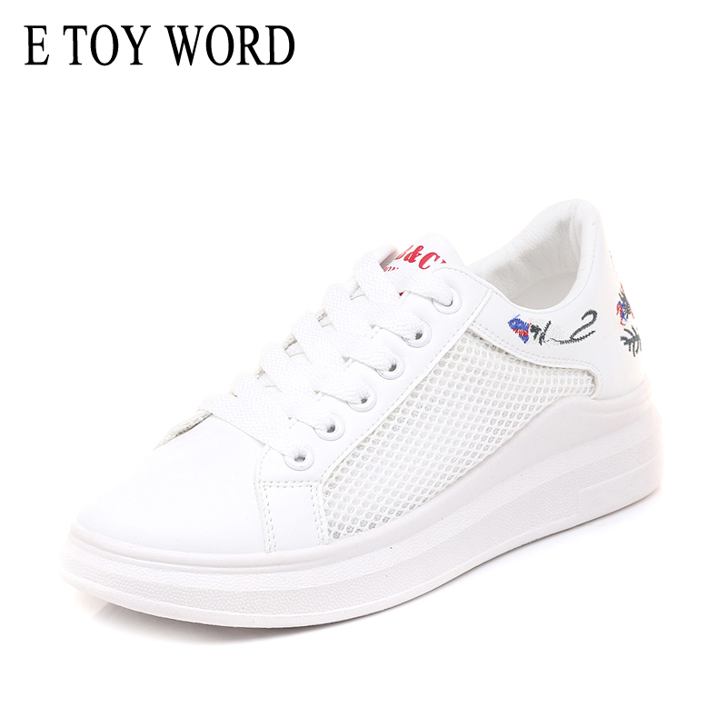 E TOY WORD Women Casual Shoes Summer 2018 Spring Women Shoes Fashion Embroidered Breathable Hollow Lace-Up Women Sneakers
