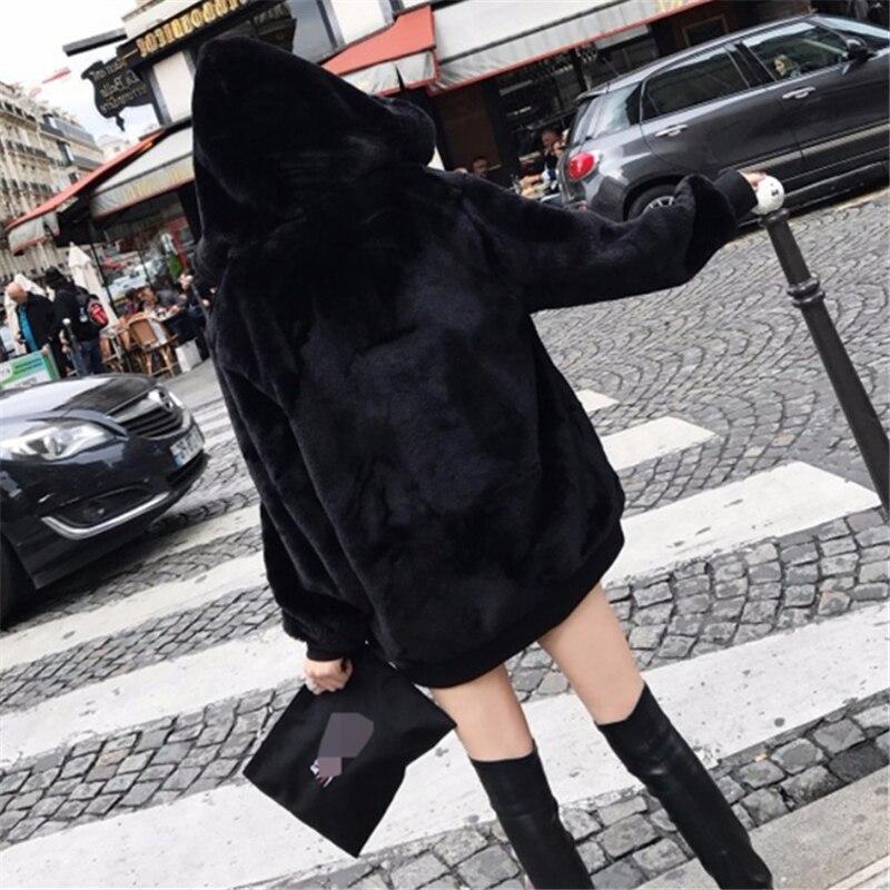 De D'hiver 2019 En Fausse Femelle Black Manteau Zipper Longue H00473 Manches Et Section À Peluche Fourrure Épais Chaud Automne Gray dark Longues Capuche fvq05qx