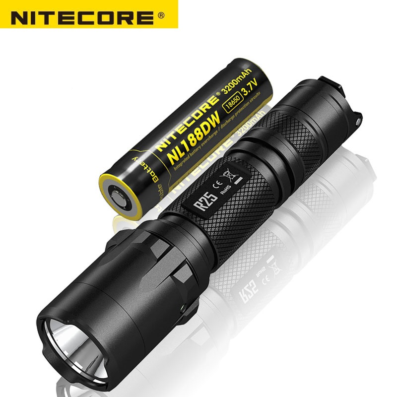 Nitecore R25 LED Flashlight Cree XP-L HI V3 White light STROBE READY 800 lumens torch with Nitecore NL188 battery Free Shipping nitecore p12gt cree xp l hi v3 1000lm led flashlight 320 meter torch new i2 charger 18650 3400mah battery for search