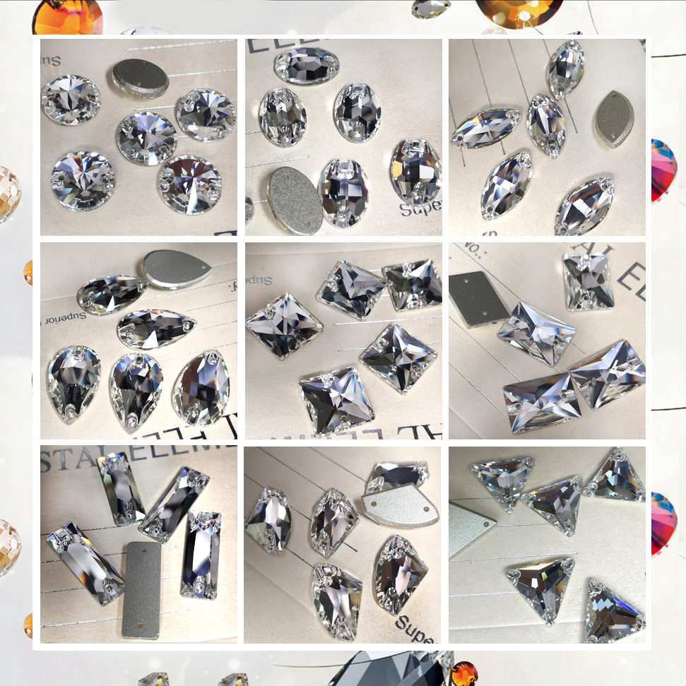 Painting Crafts Mixed Shapes Clear Sew On Rhinestones Flat Back Crystal Glass Stones Clothes DIY Decoration Accessories