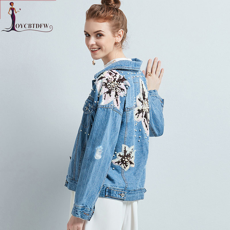 Spring Autumn women denim jacket 2018 new printing Large size female outerwear long-slee ...