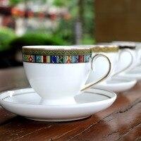 150 미리리터 도자기 사용자 정의 로고 커피 컵과 접시 뼈 중국 커피 세트 개요 골드 차 컵과 접시 세트