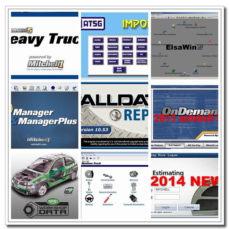2019 Hot Alldata and mitchell software All data Auto Repair Software Mitchell on demand 2015 Vivid Workshop ElsaWin <font><b>1TB</b></font> <font><b>HDD</b></font> USB image