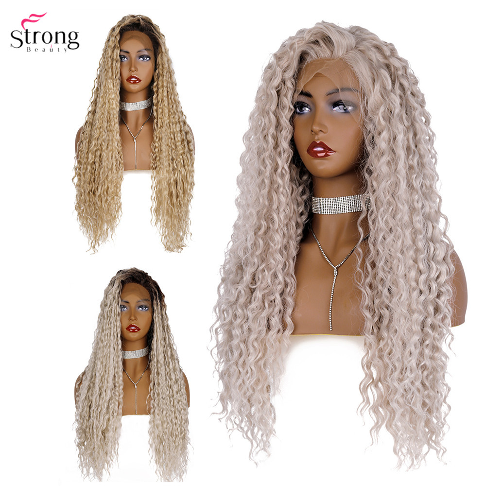 Strongbeauty Synthetic Lace Front Wig Ombre Long Curly Hair Silver Grey/Black Roots Wigs For Women