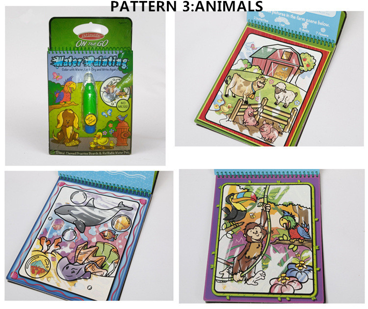 US $29.99  Intimate Coloring Book Water Wow Painting Board Reusable Numbers  Alphabet Animals Vehicles Water Painting in Intimate Coloring Book Water ...