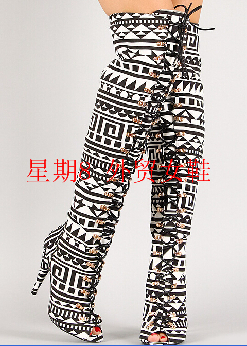 newest fashionable black white mixed color geometric pattern design cross lace-up modern style peep toe over-the-knee boots compatible laser printer chip reset for dell 3130 toner cartridge chip