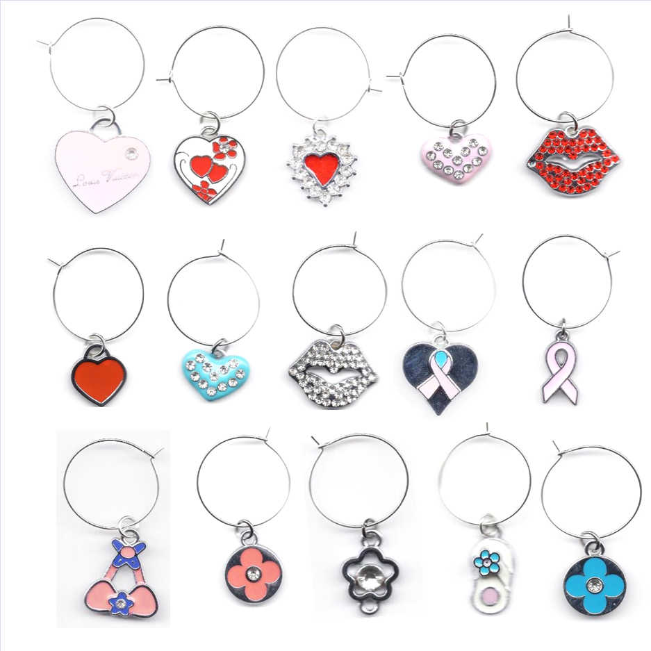 2020 New 5pcs Random Mix Wine Charms Wine Gifts Glass Marker Wedding Favor Christmas New Year Decoration