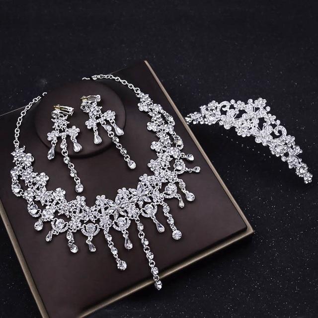 Luxury Silver Crystal Butterfly Wedding Jewelry Sets Rhinestone
