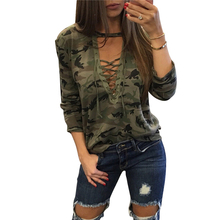 Deep V-Neck Camouflage T-shirt Female Long Sleeve Hollow Out Printed Casual Tshirt Women Lacing Up Bandage Army Green Tops Blusa