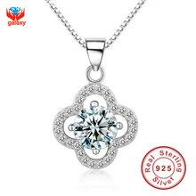 Galaxy genuino 100% plata esterlina 925 colgante de collar de lujo corazones y flechas de 1 quilates CZ collar de diamantes para para YN002
