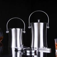 Elm Cove Stainless Steel Ice Bucket Set with Lid and Tongs Premium Quality with Double Insulation Keeps Ice From Melting