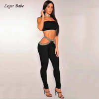 Leger Babe 2 Two Pieces Sets Black Hollow Out Diamonds Bandage Casual Club Party Women Outfit Sexy Strapless Crop Tops and Pants
