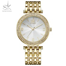 Shengke Women Watces Bracelet Relogio Feminino Crystal Gold Dial Fashion Montre Sexy Ladies Watches Wristwatches