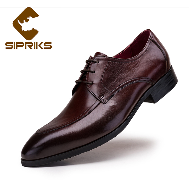 b6052d8602 Sipriks Dark Brown Pure Leather Shoes For Men Grooms Wedding Shoes Rubber  Sole Luxury Brand Boss Black Leather Shoes Formal Flat