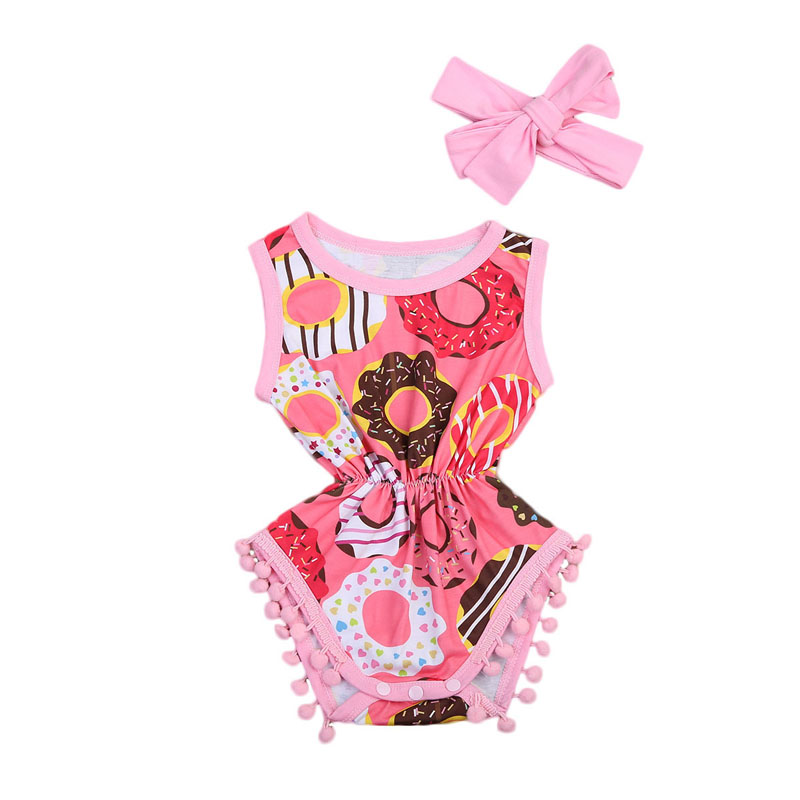 New Fashion Newborn Infant Baby Girls Outfit Clothes Print Floral Romper Jumpsuit Headband Set