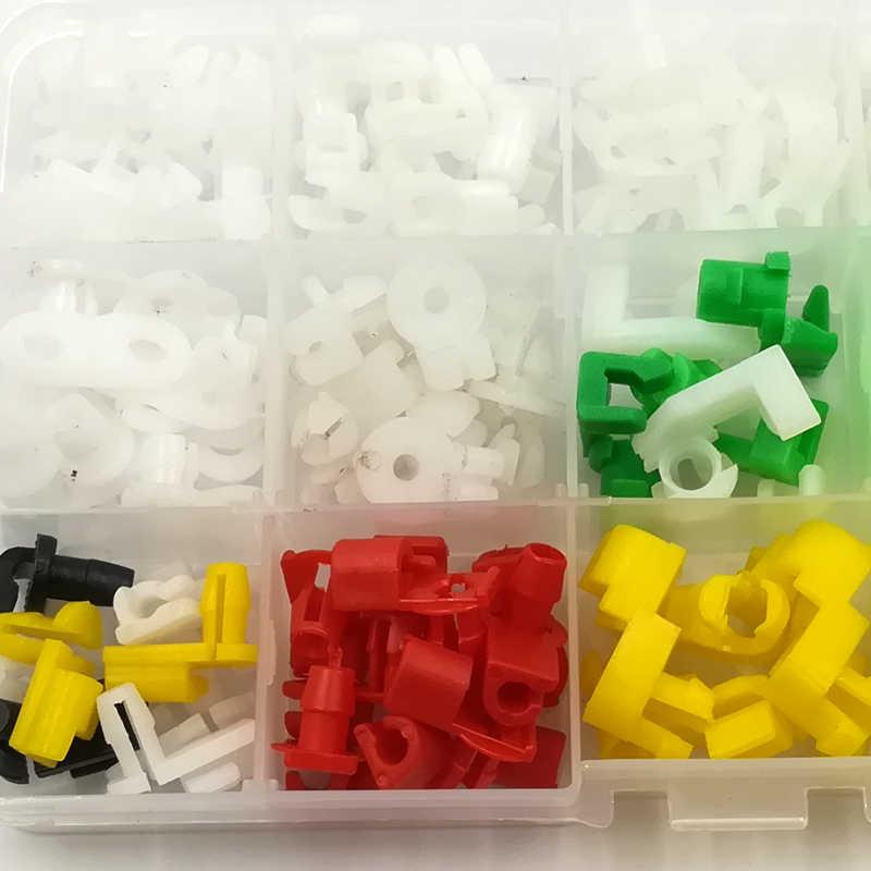 كه لى مي 160 قطع السيارات العالمي البلاستيك يسار يمين الباب قفل قضيب كليب الجانب السحابات الخدم سلك السيارة مقاطع مربع