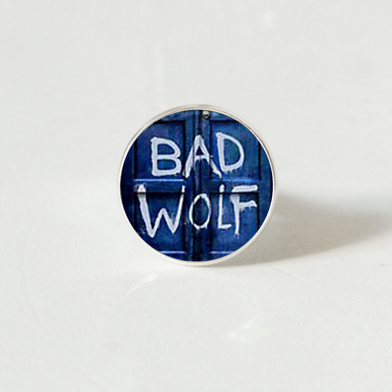 Doctor Who Inspired Bad Wolf Tardis ring Handmade Glass Cabochon ring Gift Jewelry in Rings from Jewelry Accessories