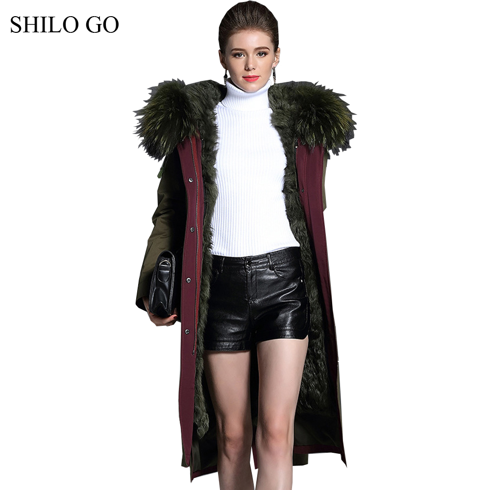 Womens Winter Army Green Jacket leather Coats Thick Parkas Plus Size Real Raccoon Collar Hooded Lamb Fur Long Outwear Fur Coat winter jacket women 2017 army green coat real raccoon fur collar hooded warm down jacket parka womens coats and jackets dhl free