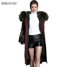 Womens Winter Army Green Jacket leather Coats Thick Parkas Plus Size Real Raccoon Collar Hooded Lamb Fur Long Outwear Fur Coat