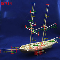 Dowin 1:100 Scale Diy Wooden Sailboat Halcon1840 Model Ship + life boat + Brass updates kits toys accessories
