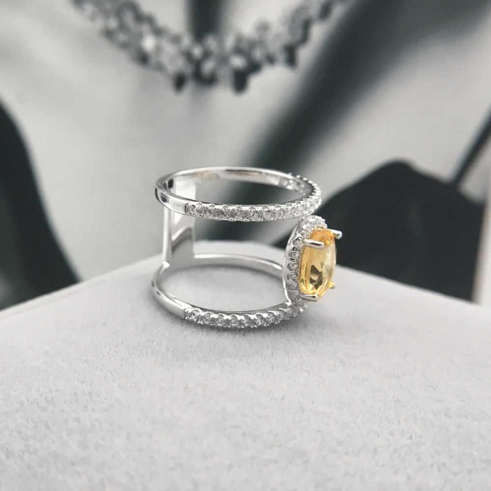 Hutang หินเครื่องประดับ Citrine ธรรมชาติ 100% แหวนพลอยแท้ 925 สเตอร์ลิงเงินแฟชั่นเครื่องประดับสำหรับของขวัญใหม่