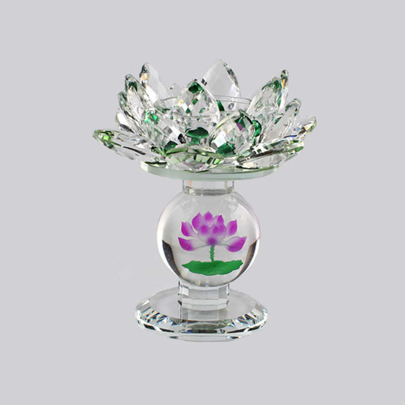 Crystal Glass Lotus Flower Candle Holders Feng Shui Wedding Centerpieces Holidays Home Decoration Candlestick with Blue Gift Box