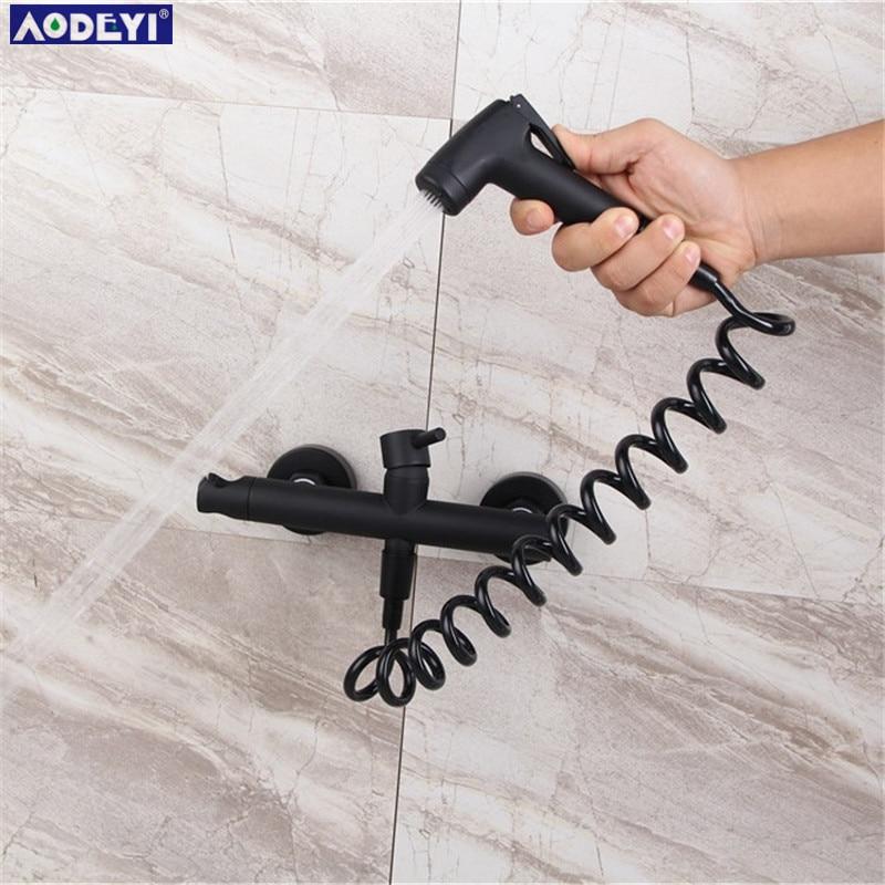 Toilet Bidet Sprayer Hot Cold Mixer Valve Solid Brass Black Handheld Bidet Toilet Portable Bidet Shower