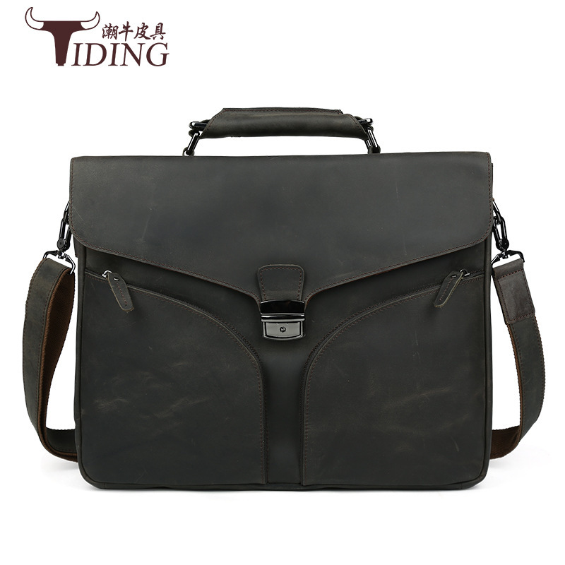 Genuine Leather TIDING Retro Crazy Horse Leather Men Messenger Bag Handbag Shoulder Bag Business 15.6 Inch Laptop Briefcase 2016 joyir men briefcase real leather handbag crazy horse genuine leather male business retro messenger shoulder bag for men mandbag
