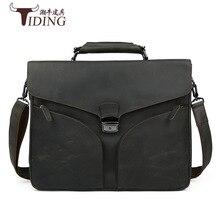 Genuine Leather TIDING Retro Crazy Horse Leather Men Messenger Bag Handbag Shoulder Bag Business 15.6 Inch Laptop Briefcase 2016