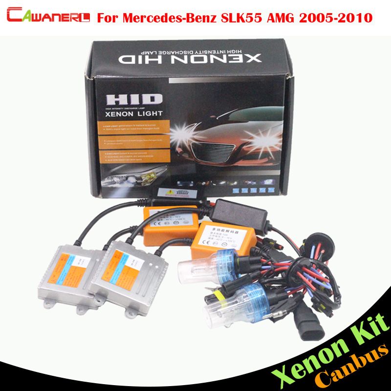 Cawanerl 55W No Error Ballast Bulb HID Xenon Kit AC Car Light Headlight Low Beam For Mercedes Benz R171 SLK55 AMG 2005-2010 20pcs error free xenon white 14k gold interior led light kit for mercedes x164 gl amg with samsung 3030 led
