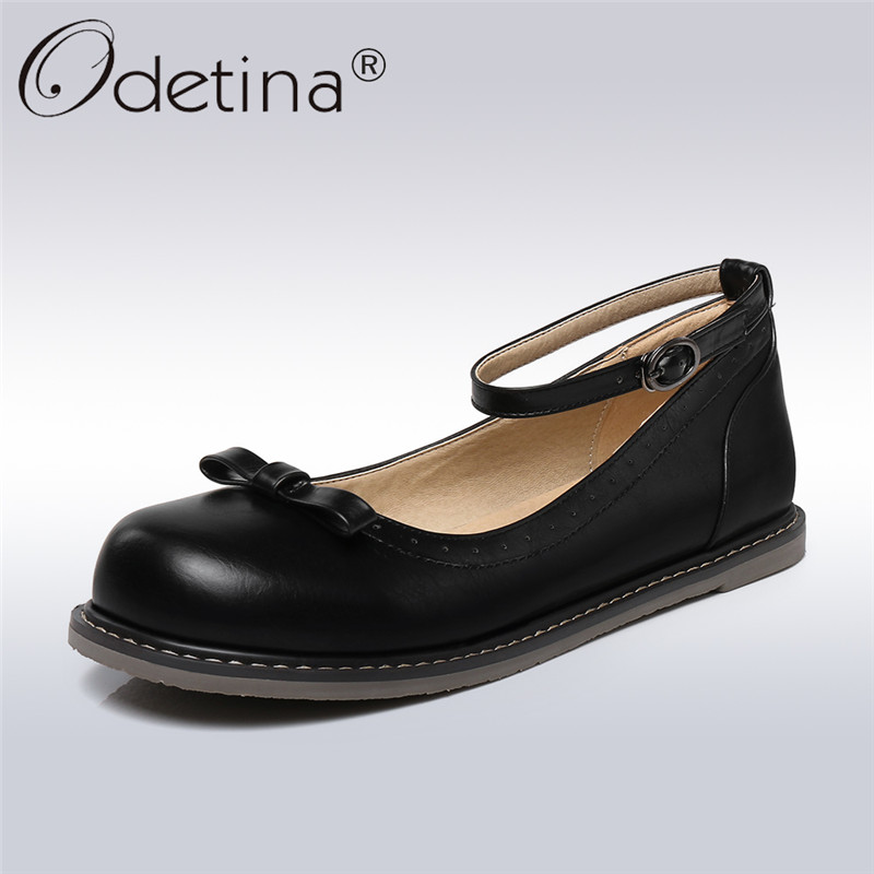 Odetina 2018 New Fashion Women Spring Mary Janes Flat Shoes Ankle Strap Sweet Shoes Lady Round Toe Buckle Bowknot Comfort Flats odetina 2017 new summer women ankle strap ballet flats buckle hollow out flat shoes pointed toe ladies comfortable casual shoes