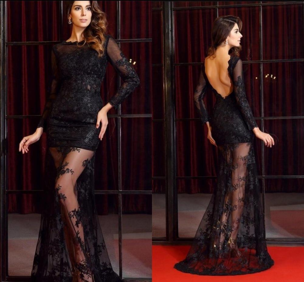 2016 stiilne must pits pikkade varrukatega seljata seksikas - Eriürituste kleidid - Foto 2