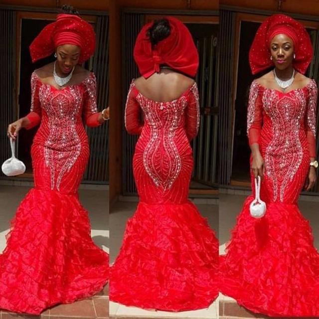 Luxury Crystal 2017 African Mermaid Evening Dresses Beaded Full
