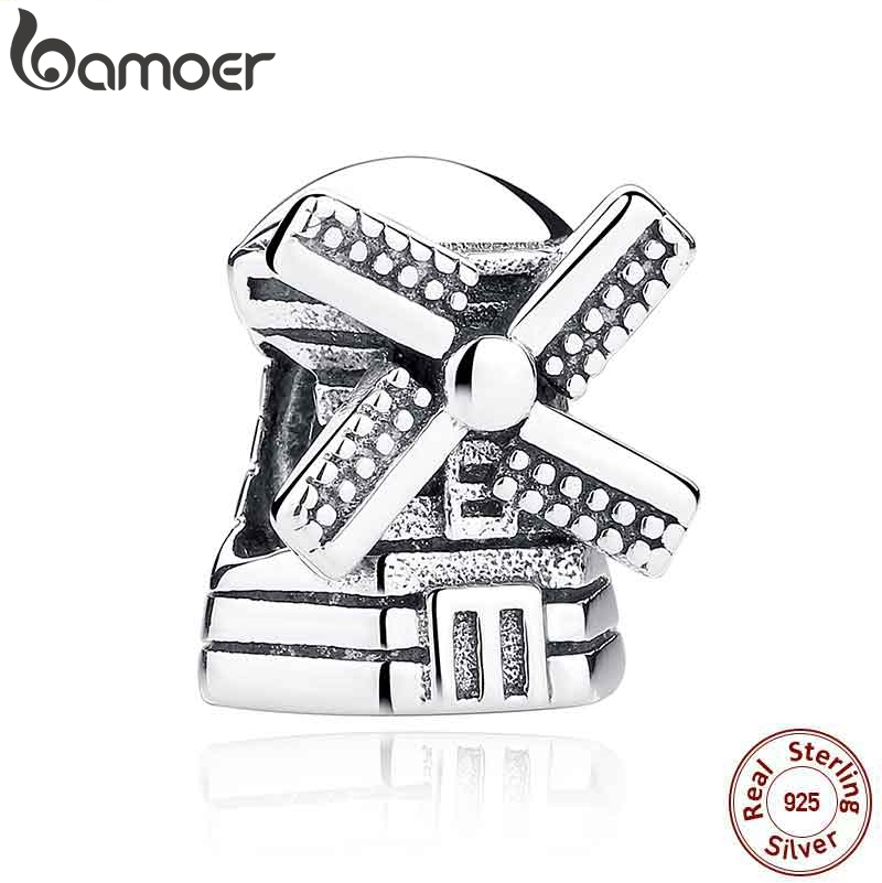 BAMOER Fashion Real 925 Sterling Silver Windmill Pendants Charms fit Bracelets Necklace Engagement Accessories PAS261BAMOER Fashion Real 925 Sterling Silver Windmill Pendants Charms fit Bracelets Necklace Engagement Accessories PAS261