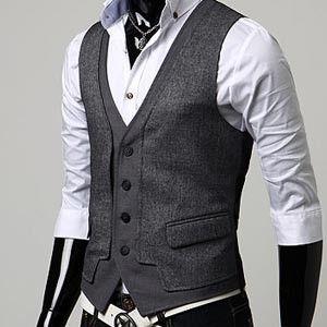 2017 Custom Made Dark Gray Mens Vests Slim Fit Wedding Prom Dinner ...