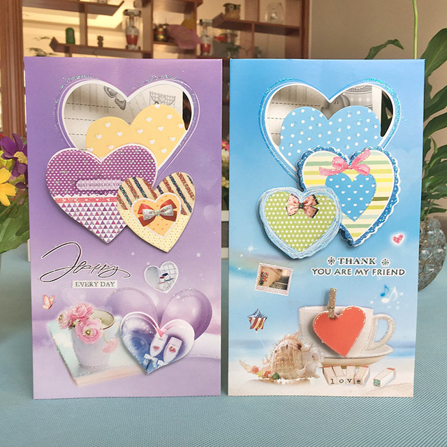 Us 2 99 8pcs Paper Heart Love Birthday Invitation Card Children Happy Birthday Party Invitation Cards Kids Greeting Cards Supplies In Cards