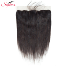 Sophie's Lace Closure Brazilian Hair 13 * 4 Lace Frontal Straight Menneskehår Closure Med Baby Hair Non-Remy Natural Color Hair