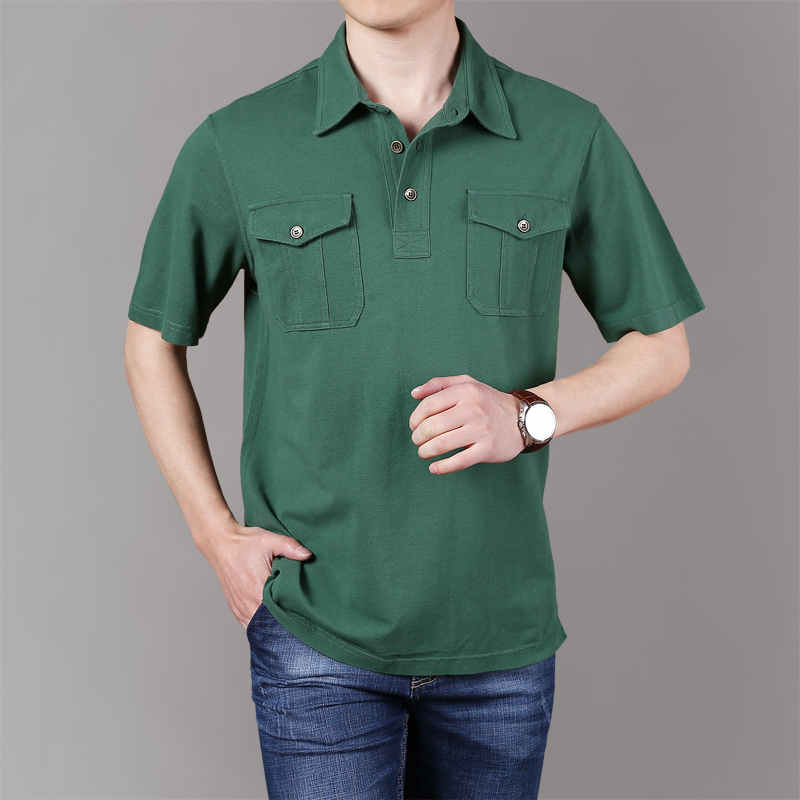 Men Summer Business Casual Pockets Cotton Safari Style   Polo   Shirts Tee Men Brand Solid Short Sleeve   Polos   Shirt Men Plus Size