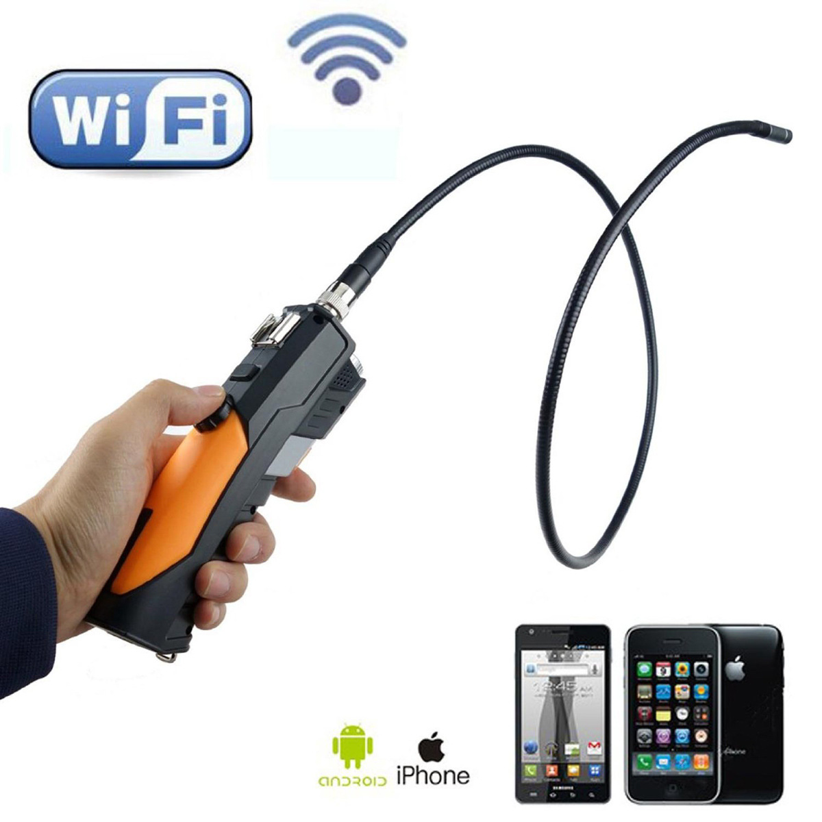 For 1M Hand-held WiFi HD720p Wireless Endoscope Video Borescope Camera 4 PC iOS Android Tablet + Side Mirror