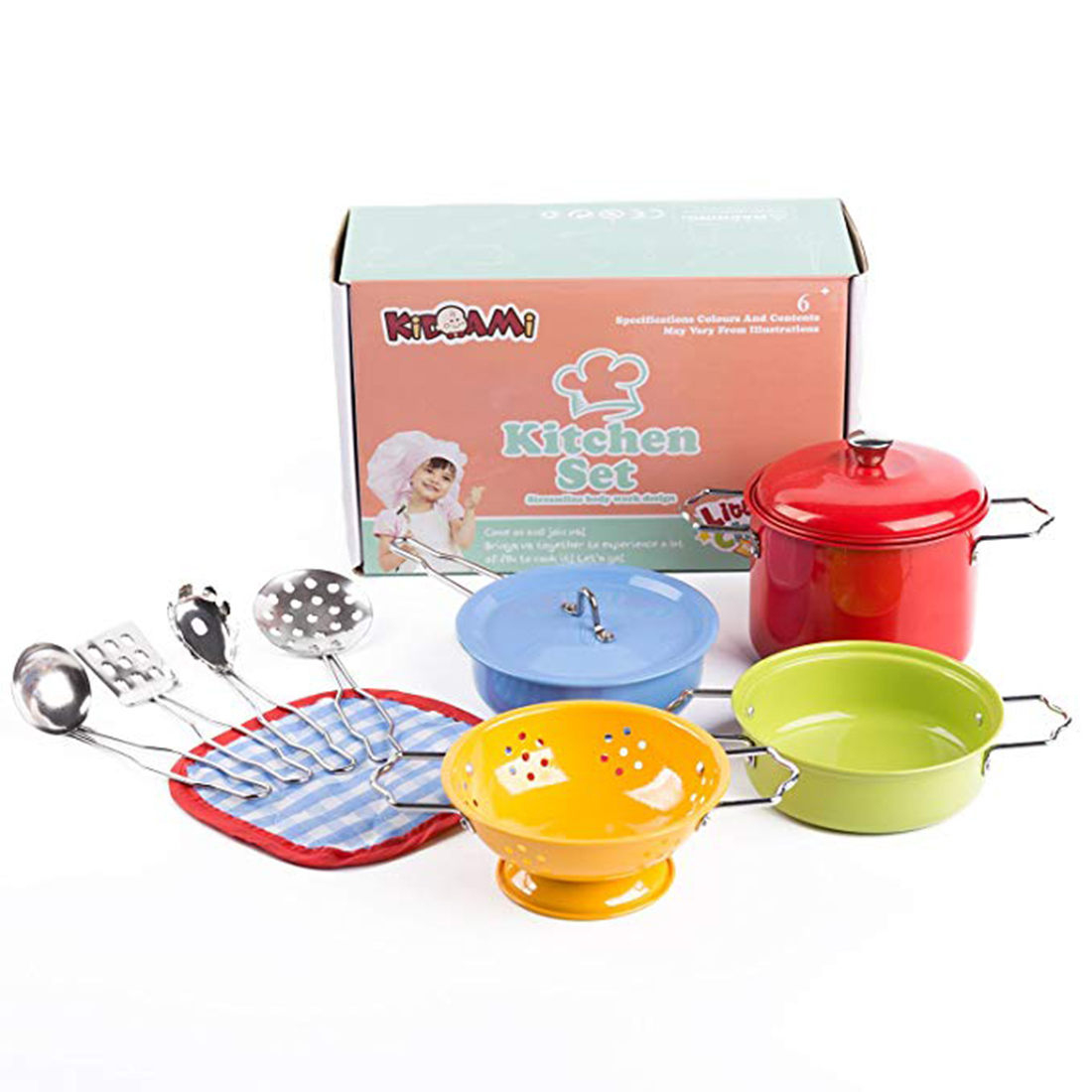 11Pcs Colorful Kitchen Toy Set Utensils Cooking Pots Pans Food Dishes Mini Simulation Kids Cookware Pretend Play Toys