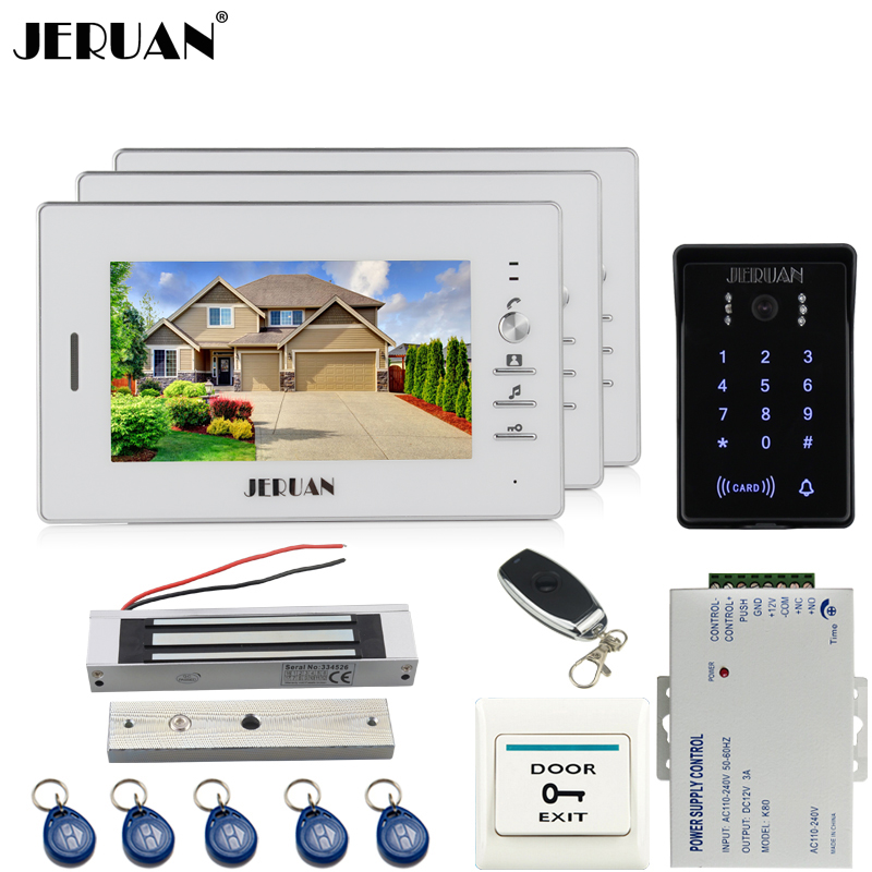 JERUAN Home safety 7 inch video door phone intercom system kit 700TVL RFID waterproof touch key password keypad Camera 3 monitor