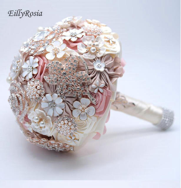 Bride Flower Bouquet Rhinestone Jewelry Blush Pink Brooch Bouquet Bridal Wedding Bouquet ramos de novia artificiales Flowers