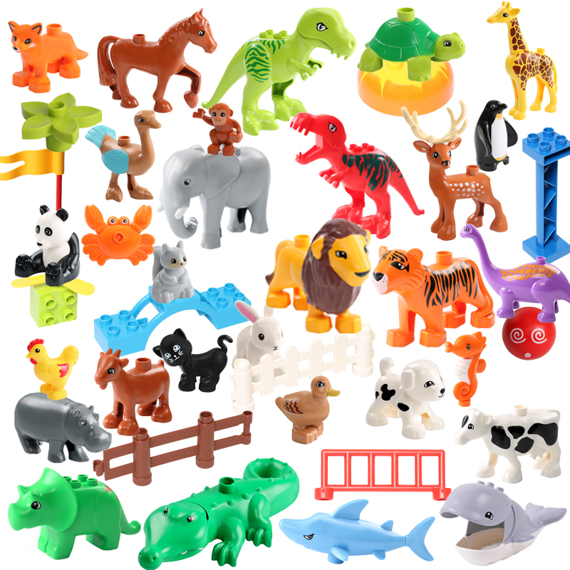 DIY Building Blocks Animals Series Models Dinosaur Deer Panda Elephant Penguin Figures Blocks Toys For Children