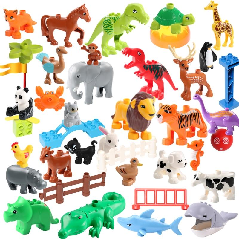 DIY Plastic Assembly Building Blocks Animals Zoo Series Dinosaur Deer Panda Penguin Figures DIY Bricks Blocks Toys For Children