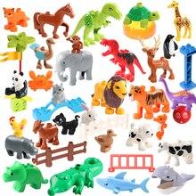 Diy Building Blocks Compatible LegoINGLY Duploe Animals Models Dinosaur Deer Panda Elephant Penguin Figures Toys For Children