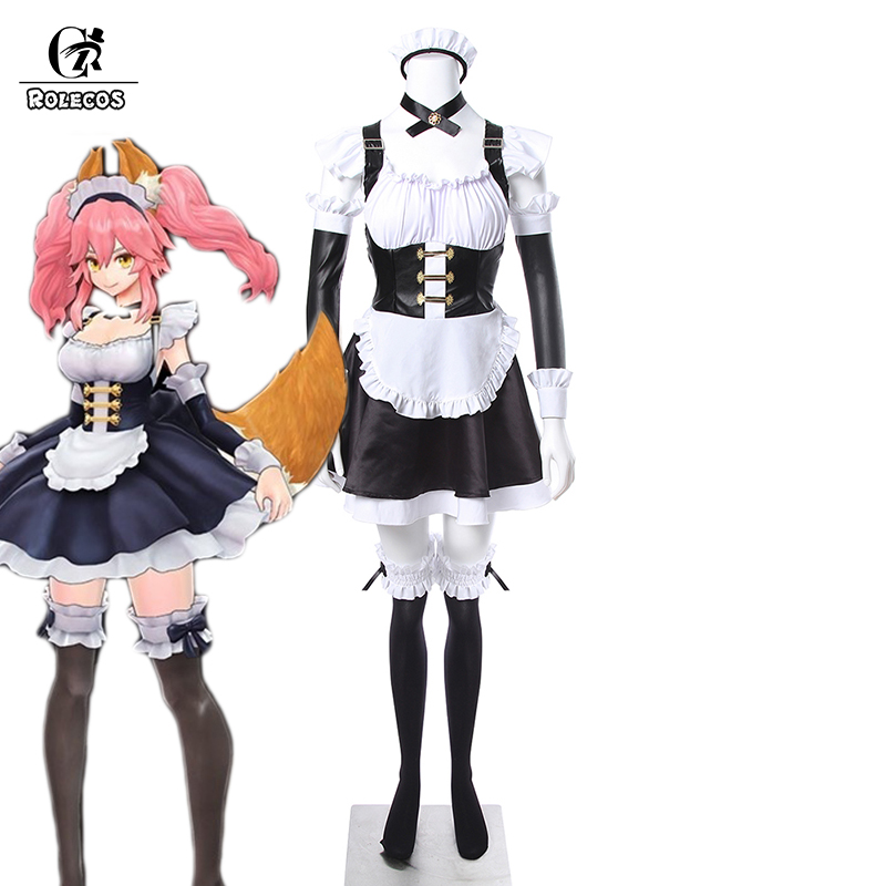 ROLECOS Japanese Fate EXTELLA Tamamo no Mae Cosplay Costume Carnaval Costume Maid Costume Full Set Party